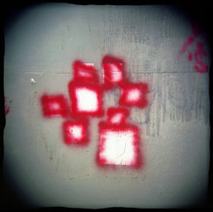 Board Game (Voxphoto) Tags: red squares stickers where spraypaint sq holga120n portra400