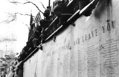 Ground Zero, Manhattan, NY, September 25th 2001 (Stefano-Bosso) Tags: 2001 usa white newyork black film cemetery wall mono blackwhite pentax manhattan worldtradecenter 911 attack terrorism etc groundzero bnw grounder septembereleventh rolloffilm noietblanc blackwhitephotos