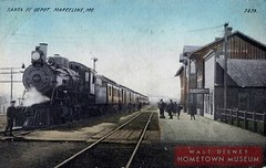 Marceline-ATSF wooden depot with eastbound train-hand tinted post card