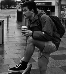 Coffee power (Nikonsnapper) Tags: street leica bw coffee f14 cardiff queen shorts unposed summilux omd em5 olympuus