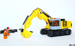 Excavator (Devid VII) Tags: city white detail yellow lego details vehicles minifig minifigs diorama vii excavator tracked moc 2016 devid foitsop devidvii