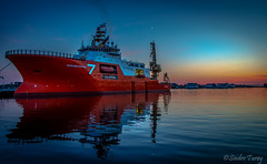 Normand Subsea Vessel in sunset (sindreturoy) Tags: ocean blue sunset sea sky moon reflection industry water beautiful norway night canon eos rebel colorful offshore clear rogaland normand haugesund subsea 700d t5i