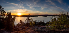 Sundowning (Jens Haggren (off for a while)) Tags: trees sunset sea sky panorama sun seascape water clouds landscape view sweden pano olympus em1 nacka