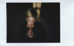 Day 054 (H o l l y.) Tags: logomachie lomoinstant fuji instax mini instant film self portrait girl mirror blonde glasses reflection dark shadow vignette flash excited sleep soundly friends helping worked calm changes retro indie vintage