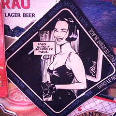 Black Label Beermat (Exile on Ontario St) Tags: christmas xmas party woman black beer girl sign lady poster pub noir dress montral maya drink montreal label drinking advertisement christmasparty alcool alcohol beermat advert mysterious shorthair nol coaster publicit vamp blacklabel signe lager coasters bire affiche xmasparty classy carling advertise sousbock danslenoir sousverre rondbire xmas2014 ennoiretblack