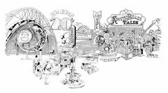Knott's Berry Farm (jericl cat) Tags: fountain sign illustration advertising design cafe neon tales ephemera charleston signage 1975 material 1970s press promotional knots corkscrew lineart roaring knotts 20s lindys beary berryfarm