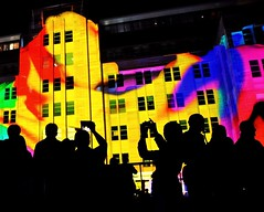 Colourful Light Projections (missgeok) Tags: lighting windows people abstract building art spectacular colours nightshot dynamic outdoor sydney silhouettes photographers australia circularquay lightshow mca brightcolours 2016 lightprojections vividsydney
