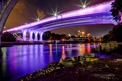 Purple for Lupus (Greg Lundgren Photography) Tags: bridge reflection skyline night river cityscape purple minneapolis mississippiriver twincities lupus 35w purpleforlupus