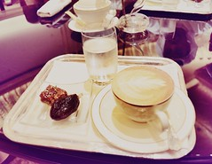 Arabic Sweet with Cappuccino  (@ Mohsin) Tags: world travel food hot cup coffee hotel beans dubai sweet uae royal class arabic emirates abudhabi journey drinks espresso around taste cappuccino dates caf refreshment emiratespalace 2016 lat