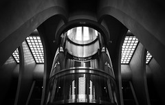 Elevator (Vincent Dehon) Tags: street railroad white black art station architecture pose nikon slow belgium gare elevator picture 24mm nano lente tgv d800