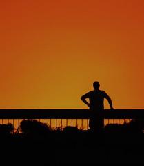 Struggle ... (leka202) Tags: sunrise sunset man struggle shadow warm summer brigde highway thinking