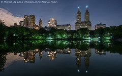 Central Park West Reflection (DSC01492) (Michael.Lee.Pics.NYC) Tags: longexposure lake newyork reflection night cityscape centralpark sony centralparkwest a7rm2 zeissloxia21mmf28