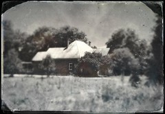 Sunlight on the Roof (Neal3K) Tags: trees bw sunlight white field georgia blackwhite gray tintype tinroof henrycountyga
