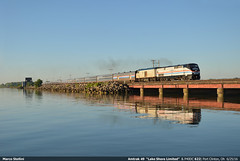 Heritage sunrise... (Marco Stellini) Tags: new york ohio lake chicago heritage boston port us clinton amtrak shore locomotive erie limited railways 822 p40dc