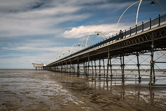 Southport Pier (Steve Millward) Tags: nikon d750 50mm primelens fx fullframe fixedfocallength sharp raw imagequality perspective england outdoor seaside holiday vacation sky cloud blue landscape scenic southport merseyside water pier beach