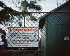 Keep Out (Chad Mauger) Tags: 120 film sign warning mediumformat kodak australia southaustralia portra mamiyarb67 filmphotography portra400 kodakportra400