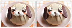 IMG_2185  (crosseye 3D) (yoshing_BT) Tags: dog cake stereophotography 3d crosseye crosseyed stereoview tiramisu stereograph   crossview  corsseye  corsseye3d