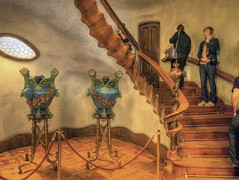 The entrance hall in Casa Batllo in Barcelona, Spain (neilalderney123) Tags: barcelona spain europe stairwell pots gaudi inside casabatllo vases curvey stais