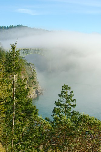 Deception Pass Bridge in the fog