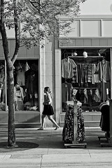 191/365 (local paparazzi (isthmusportrait.com)) Tags: trees windows summer blackandwhite bw white black detail art geometric girl strange beautiful leaves lines sunshine shop contrast vintage walking square prime glasses weird iso200 pod aperture warm downtown raw shadows legs candid shapes streetphotography sunny retro odd curly dresses bark wig hanging walls gutter madisonwi moment cloths curb statestreet radiant skirts hung afs racks throwback rectangles autofocus stride ragstock aperturepriority isthmus 2013 365project nikond90 danecountywisconsin photoshopelements7 momentitclicks pse7 50mm14g localpaparazzi redskyrocketman lopaps ragstockclothing