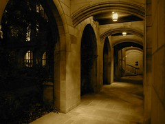 And who shall I say is calling? (rwchicago) Tags: chicago church night arch arches cloister gothicrevival fourthpresbyterianchurch hopperesque nationalregisterofhistoricplaces nrhp ralphadamscram