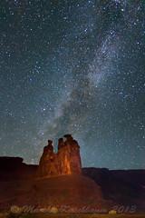The Three Gossips Chat Beneath the Milky Way (Marsha Kirschbaum) Tags: utah archesnationalpark threegossips mkphoto marshakirschbaum