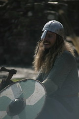 The Warrior (The Urban Bump) Tags: portrait man laughing canon hair lens beard happy eos 50mm prime content axe warrior shield 1ds tender saxon chainmail momentofjoy