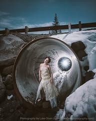 Subterranean (LukeOlsen) Tags: snow oregon concrete highway tube tunnel plastic mthood subterranean pw plasticdress bagdress lukeolsen pdxstrobist wl1600 garbagebagdress dressmadeoutofgarbagebags