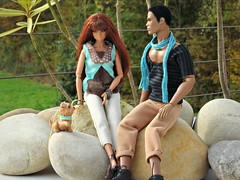 Sunday trip with doggy (Deejay Bafaroy) Tags: portrait dog black toys outdoors doll dolls power erin turquoise ken barbie portrt clothes hund reid doggy staying fr making mattel homme puppe draussen integrity the darius trkis hndchen of fashionroyalty