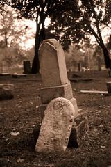 Pine Ridge Cemetery (scott_z28) Tags: old blackandwhite bw macro film broken monochrome cemetery grave graveyard sepia mi 50mm minolta michigan headstone slide delta historic mc chrome gravestone weathered 100 positive ilford cracked srt101 baycity pineridge qf dr5 f35 tricities rokkor dev2