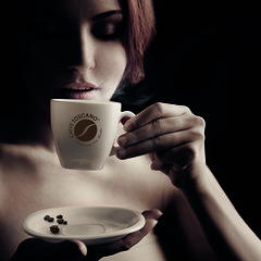 Beautiful Woman Drinking Coffee. Space for text (SuperA3 Design) Tags: morning portrait people food woman brown hot art cup coffee girl beautiful beauty smile face up fashion shop closeup female breakfast vintage dark hair person design cafe hand close flavor symbol tea drink beverage young sensual enjoy heat mug espresso concept brunette relaxation sensuality aromatic enjoyment aroma refreshment caucasian russianfederation brewed
