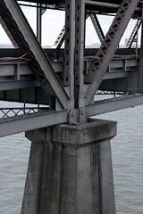 Old Span Detail (Luca Iaconi-Stewart) Tags: bridge water walking bay construction san francisco demolition east span