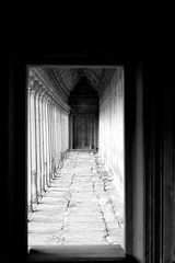 Right Corridor of Angkor Wat's Main Entrance (Patumraat) Tags: world old travel holiday building tourism architecture wonder thailand temple ancient cambodia vishnu god religion ruin culture buddhism siem classical civilization wat hindu asean reise reab