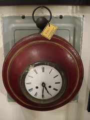 """FRENCH TOLE WALL CLOCK, C. 1840, BATTERY MOVEMENT. • <a style=""""font-size:0.8em;"""" href=""""http://www.flickr.com/photos/51721355@N02/14169930095/"""" target=""""_blank"""">View on Flickr</a>"""