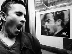 Grace period is over. (john fullard) Tags: new york city nyc urban station train underground subway mono carriage harlem candid yawn passenger