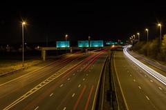 Any which way. (Lee1885) Tags: road nightphotography bridge wales nikon motorway chester lighttrail wrexham m56 ellesmereport m53 d7100