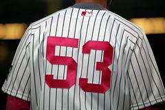 Joe Espada rocking the pink (apardavila) Tags: sports baseball mothersday yankeestadium newyorkyankees mlb majorleaguebaseball joeespada