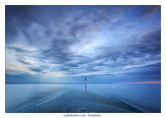 Tranquility (Phil Durkin) Tags: uk longexposure blue sunset sea summer england water clouds pier still jetty tranquility calm lancashire lytham shore hour daytime stillness cloudscape hightide calmness