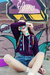 MISSY POP (DeboraDiDonato) Tags: street art colors canon comics hurts graffiti model tears mood surrealism inspired fake posing surreal drawings pop sigh concept cry conceptual murales concettuale modella