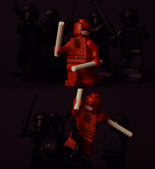 The Devil of Hell's Kitchen (Andrew Cookston) Tags: red stilllife black macro monochrome comics photography lego minifig minimalism custom marvel mrm minimalist marvelcomics daredevil frankmiller andrewcookston muddyriverminifigs