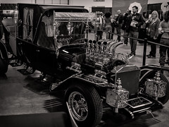 Munster Koach at East Coast Comicon (LJS74) Tags: blackandwhite bw monochrome hotrod customcar georgebarris stitchedpanorama themunsters munsterkoach eastcoastcomicon