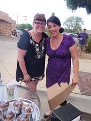 Amber and Amber- Violette's Bakery (EllenJo) Tags: arizona mainstreet pentax az event blockparty mytown fridaynight streetparty verdevalley 2016 may27 smalltownlife clarkdalearizona 86324 ellenjo ellenjoroberts summerinaz may2016 pentaxqs1