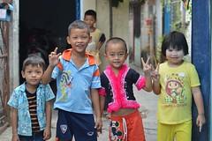 children sending you peace (the foreign photographer - ) Tags: signs portraits children thailand nikon peace bangkok bang bua khlong bangkhen d3200 may282016nikon