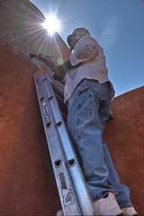 Mono-Man (Jo-Cooling To 80's :)) Tags: blue sky brown wall dave silver sunburst ladder bluejeans handyman onecolour monocolour whitehatshirtandshoes