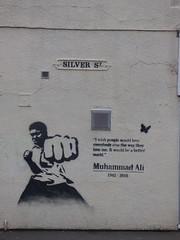 Muhammad Ali - Silver Street, Kings Heath (ell brown) Tags: greatbritain england streetart sign graffiti birmingham unitedkingdom boxer roadsign westmidlands birminghamuk muhammadali highst kingsheath cassiusclay thegreatest silverst thepeopleschampion cassiusmarcellusclayjr highstkingsheath