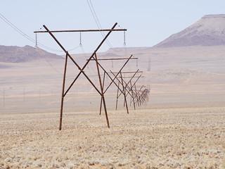36 Namibia Pylons across the desert