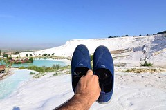 Pamukkale travertines, Turkey (Ameer Hamza) Tags: pamukkale travertines white castle cotton historical turkey travel tourism 2016 ameerhamza adhia ameer hamza travels getty hierapolis shoes blue china may salted salt activity classic tourist touristic season