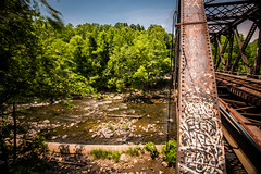Ilchester (6-11-16)-043 (nickatkins) Tags: longexposure railroad bridge sky water graffiti bridges rail tunnel bluesky ironbridge rails railroads