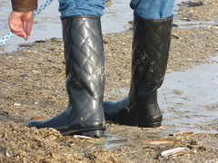 Searching for amber 1 (willi2qwert) Tags: rubberboots rainboots regenstiefel wellies wellingtons wasser women wet water wave watt beach gummistiefel gumboots girl nass strand soaked schmatzig