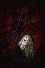 The Colour. (juriskokins) Tags: red portrait color colour girl composition contrast scarlet dark nikon moody darkness fineart 85mm blonde concept conceptual f18 18 darkart edgy d610 conceptualphotography nikonphotography agameoftones moodygrams